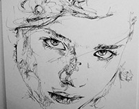 Girl 5. Experimental Portrait. Ink Drawing.