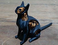 Undead Cat Black and Copper