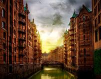 ciudad abandonada, en photoshop
