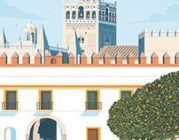 Seville Spain Retro Travel Poster City Illustration