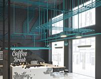 Interior visualization 003 / Coffee Break / Blue Tubes