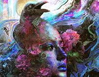 Raven Memories a dark surrealism abstract art