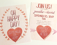 Hand lettering wedding invitation suite, 3 styles