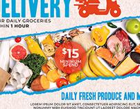 Supermarket Groceries Delivery Flyer Template