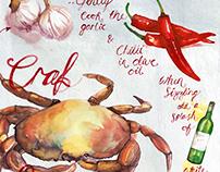 Recipe Illustration for Crab Linguine