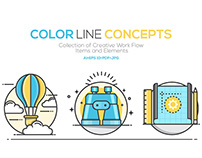 Set of Flat Color Line Design Concepts