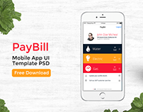 Free PSD - Bill Pay Mobile App UI Design with 9 Screens