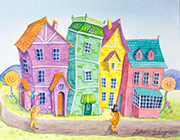 Whimsical Houses, 2015, Watercolour