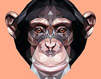 Chimpanzee Polygon Art