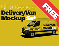 Free Ultra Realistic Delivery Van Mockup Set