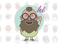 Little Beardman - sticker set for free messenger apps