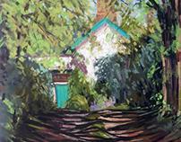 Old Farmhouse, soft pastel on board, 36 x 41cm (14 x 16