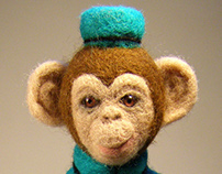 Ricky. Monkey. Author's doll, needle felted doll.