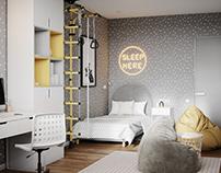 Interior 3D Render of Child room in Newcastle, UK
