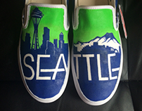 Hand painted Seattle shoes