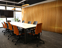Interior design for Future Processing -Wooden wave wall