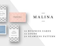 MALINA Business Cards + Logos + Seamless Pattern