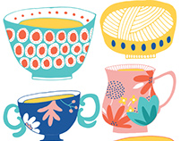 Patterned Teacups, Mugs And Bowls / Illustration