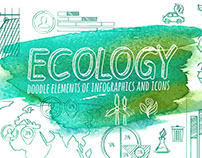 Ecology Doodle Infographic Elements & Icons