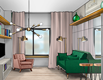 INTERIOR SKETCHES FOR TINY FLAT
