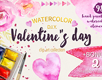 Watercolor Valentine's day MEGA Pack