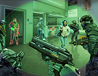Cyborg police. Editorial Illustration