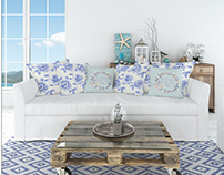 Sofa & Pillows - Coastal Style Mockup Set