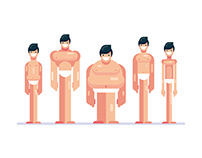 5 Different Body Types - Flat Design Characters