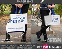 3 FREE PAPER BAG MOCK-UPS IN PSD