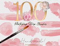 100 Watercolor Brush Stroke PS Brushes