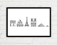 Paris Landmark Illustrations
