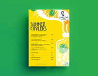 Summer coolers pricing menu designed for simply south
