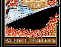 Queen Elizabeth 2 Comp Poster - Illustration