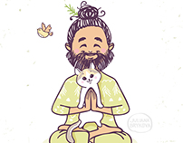 yoga man with cat