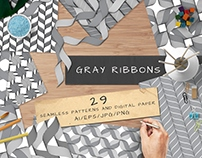 Gray Ribbons Seamless pattern collection