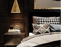 Dark contemporary bedroom