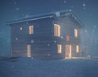 Snowy Cabin CGI