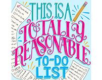 Totally Reasonable To-Do List lettering illustration