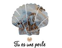"""Motif textile """"Tu es une perle"""""""