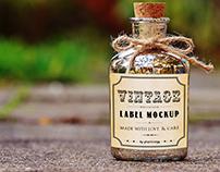 Glass bottle vintage label mockup PSD