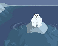 polar bear on iceberg above ice city