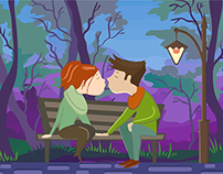 Kissing couple and passionate runner (vectors)