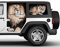 Car Wrap Design Concept (Zoo Lion & Florist Roses)