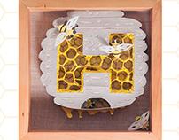 hive paper sculpture poster
