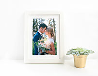Free Picture Frame Mockup PSD for Wedding Photos & Lett