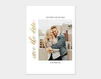 Save the date Card Template - Gold Faux Foil Script
