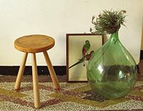 Log&Bones: End Grain: Stool, Table, Coat hanger