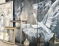 Cranes XL painting