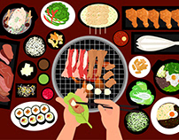 Korean Food and Bbq Grilled