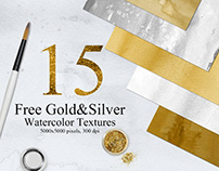 15 Free Gold and Silver Colors Watercolor Textures
